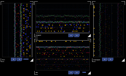 Example of an EMDAR interface (click for larger). Detected emissions first appear on left or top with time elapsing to the right or downwards (depending on orientation of the array display).